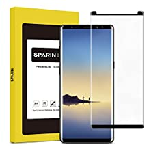 SPARIN Galaxy Note8 Screen Protector, 3D Tempered Glass Screen Protector cover MOST parts of the curved edge for Galaxy Note 8 with [Scratch Proof] [Ultra Clear], Black