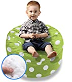 BeanBob Bean Bag Chair Cushion (Green w/Polka Dots) 2ft - Bedroom Sitting Sack for Toddlers & Small Children w/Polyester Fiber Filling