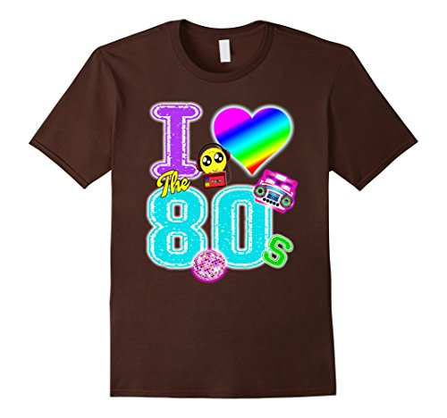 [Mens Eighties I love The 80s Graphic Shirt,Colorful 80s Large Brown] (80 Costumes Ideas)