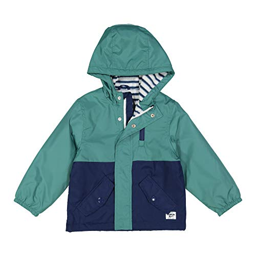 Osh Kosh Baby Boys Midweight Fleece Lined Windbreaker Jacket, Green/Black Colorblock, 18 Months