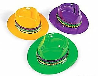 12 Gangster Hats in 'Mardi Gras' Colours
