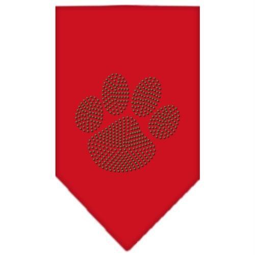 Mirage Pet Products Paw Green Rhinestone Bandana, Small, Red
