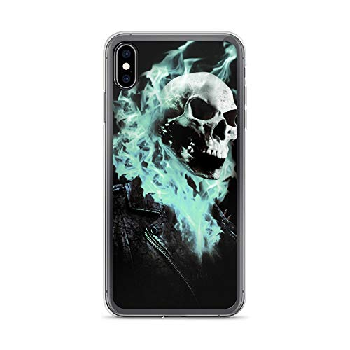 iPhone Xs Max Case Anti-Scratch Comic Strip Transparent Cases Cover Ghost Rider Blue Flames Done in Photoshop Comics Comedian Crystal Clear
