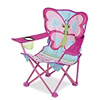 "Melissa & Doug Cutie Pie Butterfly Camp Chair (Easy to Open, Handy Cup Holder, Cleanable Materials, Carrying Bag, 23.7"" H x 6.7"" W x 6.7"" L)"