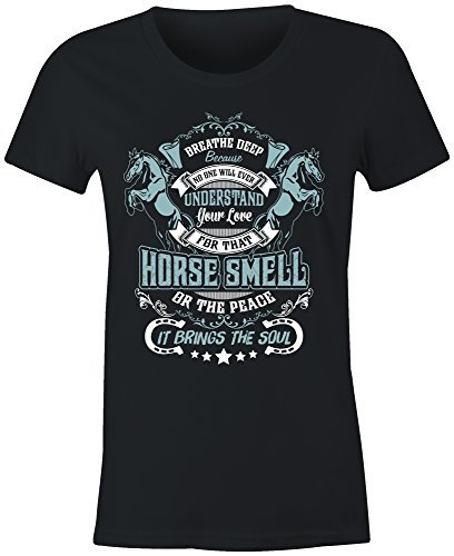 6TN Ladies Fitted Horse Smell T Shirt (Large, Black) - Ladies Horse