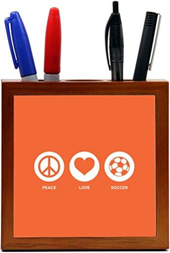 Rikki Knight Peace Love Soccer Orange Color Design 5-Inch Tile Wooden Tile Pen Holder (RK-PH42775) by Rikki Knight