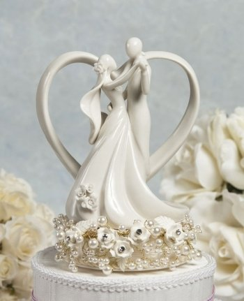 Wedding Collectibles Vintage Rose Pearl And Heart Cake Topper Base Color GOLD WIRING