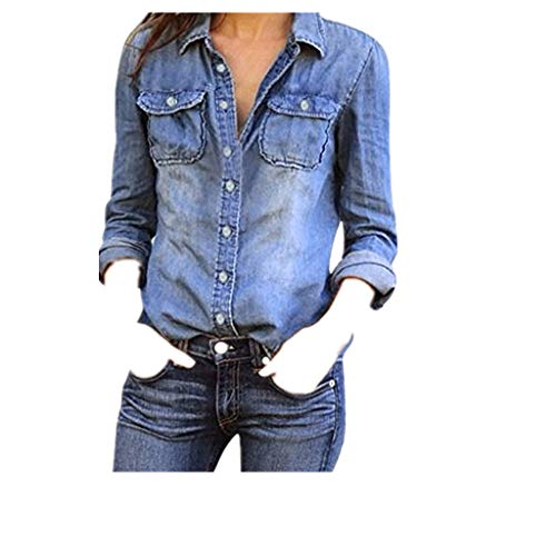 - Women Blouse Jacket,Ladies Casual Blue Jean Denim Long Sleeve Shirt Tops (L, Blue)