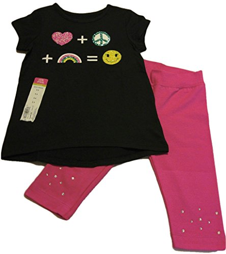 Okie Dokie Girls Printed Top & 365 Kids Pink Sparkle Capri Pant Set (S-4)