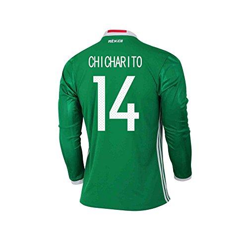 有名古い甥CHICHARITO #14 Mexico Home Long Sleeve Jersey COPA America Centenario 2016(Authentic name & number)/サッカーユニフォーム メキシコ ホーム用 長袖 チチャリート