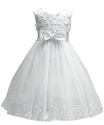 Price comparison product image Big Girls First Communion Lace Dresses for Toddler Pageant Baby Sleeveless Flower Girl Dress Christmas Ball Gown for Weddings Sundress A Line Tank Vintage Pleated Skirt Knee Kids Tutu (White, 4)