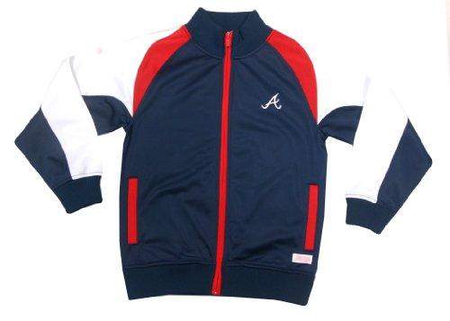(MLB Atlanta Braves Girl's Mock Neck Track Jacket, Navy, Small)