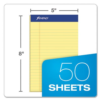 - Writing Pad, Narrow Rule, 5 x 8, Canary, Perfed, 50-Sheet, Dozen