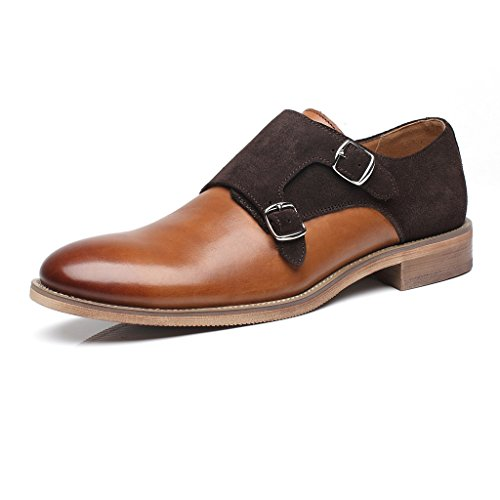 La Milano Patina Collection Leather and Suede Double Monk Strap Dress Shoe (Collection Strap Leather)
