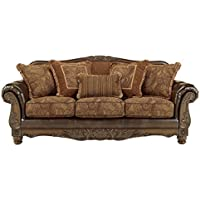 Ashley Furniture Signature Design - Fresco Sofa with 5 Pillows - 3 Seats - Grand Elegance - Brown