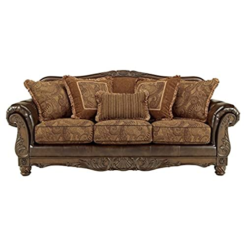 Ashley Furniture Signature Design   Fresco Sofa With 5 Pillows   3 Seats    Grand Elegance   Brown