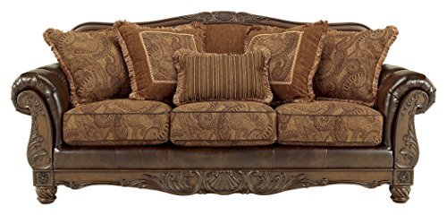 - Ashley Furniture Signature Design - Fresco Sofa with 5 Pillows - 3 Seats - Grand Elegance - Brown