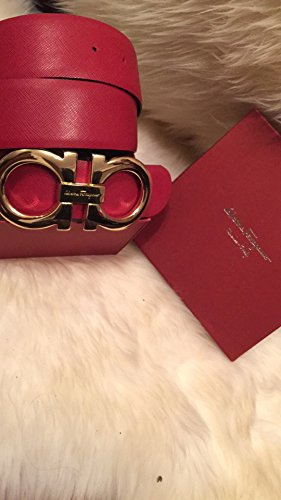 Calfskin Embossed Belt (Men's Authentic Salvatore Ferragamo Reversible Belt Red/black 95cm/32-34)