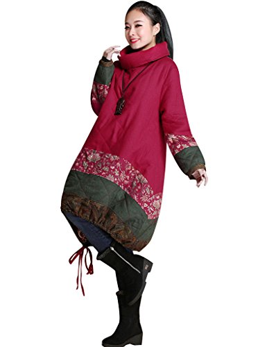 Ourlet Manteau Haut Col Drawstring Youlee Femmes D'hiver Rouge wAqzx4O