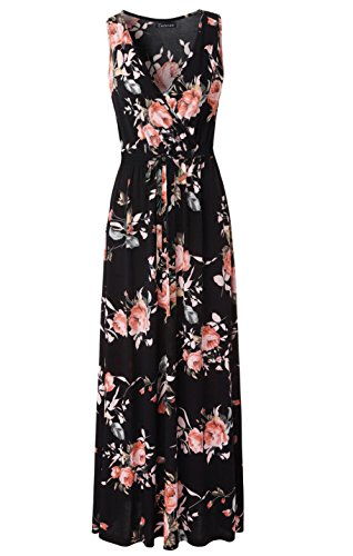 Zattcas Womens V Neck Sleeveless Empire Waist Floral Maxi Dress … (X-Large, - Dress Jersey Maxi