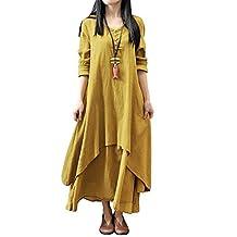BIUBIU Women's Vintage Long Sleeve Linen Cotton Loose Fit Maxi Dress S-3XL