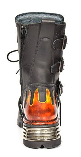 Leder Rot Stil Stiefel Gothic Design Rock Flamme Herren New Biker Schwarz Schuhe Schnürsenkel wI8BznqU