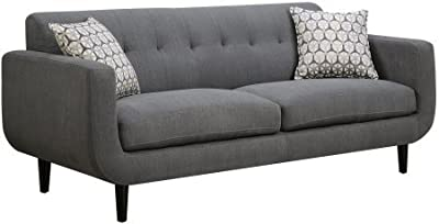 "Coaster Stansall 505201 83"" Sofa with Accent Pillows Retro Mid Century Design Curved Profile Pocket Coil Seating Kiln Dried Hardwood Frame and Fabric Upholstery in Grey"