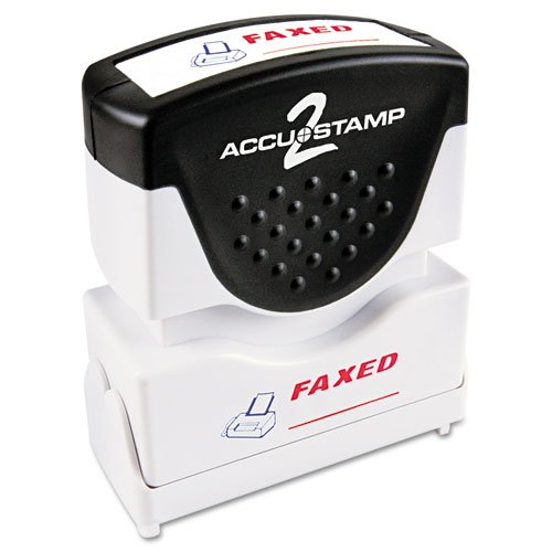 (Accustamp2 Shutter Stamp with Microban, Red/Blue, FAXED, 1 5/8 x 1/2, Sold as 1 Each)