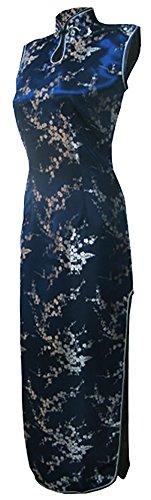 7Fairy Women's VTG Navy Blue Keyhole Long Cheongsam Chinese Dress Size 6 US
