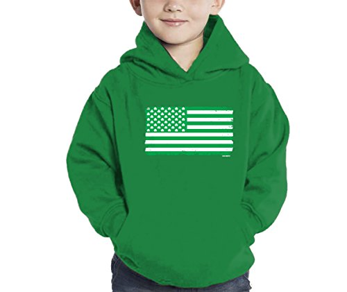 Shamrock Clover American Flag - ST Patricks Day Hoodie Sweatshirt (Kelly Green, 2T) (Kids Shamrock Sweatshirt)