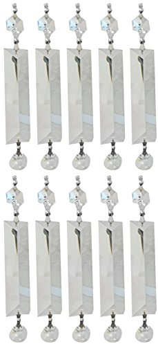 Royal Designs Replacement Chandelier Clear Crystal Prism K9 Quality Long Pyramid Cut and Hanging Bead Prism with Chrome Connectors and an extra Octogan Crystal Bead Pack of 10 Review