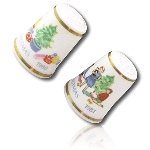 Custom & Collectible {25mm Hgt. x 19mm Dia.} 2 Pack Of, Mid-Size Sewing Thimble Made of Fine-Grade Porcelain Glass w/ Collectible Vintage Royal Worcester Christmas Tree & Presents Design {Multicolor}