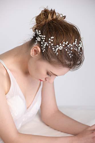 fxmimior Bridal Wedding Headpiece-Silver