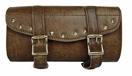 (Distressed Brown Studded 2 Quick Release Buckle Motorcycle Tool Bag)