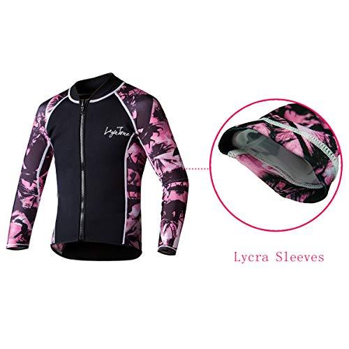 Layatone Wetsuits Top Women Men 3mm Neoprene Jacket Tops Diving Surfing Suit Rash Guard Long Sleeevs Front YKK Zipper Wet Suits Jacket Top Adults Pink - Neoprene Sleeve,M