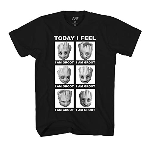Marvel Little Groot Today I Feel I Am Groot Guardians of The Galaxy Men's Adult Graphic Tee T-Shirt (Black,Small)