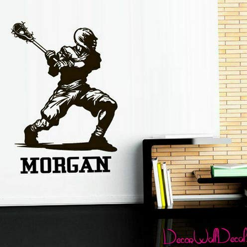 (Tomikko Wall Decal Lacrosse Game Personalized Custom Name Sport Decor Art M1629 | Model DCR - 784)
