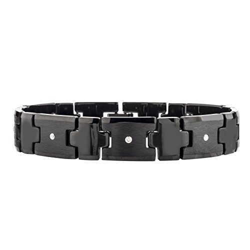 Mens Diamond Tungsten Carbide Bracelet (0.20 carats, H-I I2) (Black) by AX Jewelry