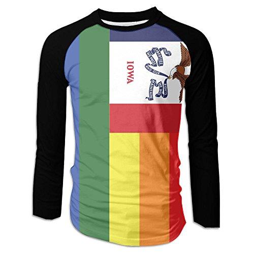Shi Fu Men's Rainbow Flag of Iowa Stylish Long Sleeves Casual Raglan Tee Baseball ()