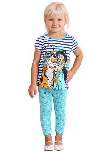 Disney Little Girls' 3 Piece Princess Jasmine Printed Legging Set, Aqua, 5