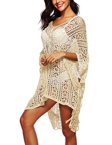 - Kistore Swimsuit Cover Up Women, Crochet Bathing Suit Bikini Swimwear Cruise Plus Size Dress Apricot