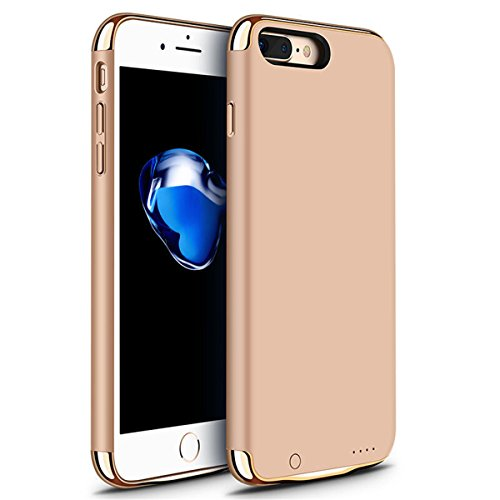 iPhone 6/6s/7 Plus Battery Case, GIZEE Ultra Slim 3 In 1 Metal Textured 4000 mAh Portable Protective Charging Case for Apple iPhone 6 Plus/ iPhone 6S Plus/ iPhone 7 Plus 5.5 Inch - Gold