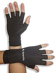 Serenilite Arm and Hand Compression Wear, Small - Black Copper Compression Glove (1 Pair)