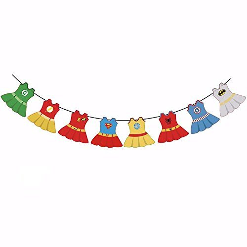 Astra Gourmet Superhero Baby Shower Party Banner for Baby Girl's Baby Shower, First Birthday Party, Nursery Rood Decorations ()