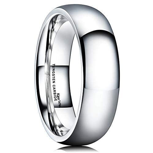 King Will Basic Men's 8mm Classic High Polished Comfort Fit Domed Tungsten Metal Ring Wedding - Vs Gold White Tungsten