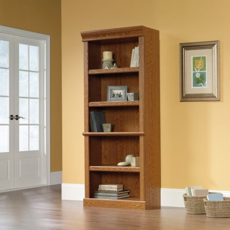Charming 5-Tier Library, Adjustable Shelves, Enclosed Back Panel with Cord Access, Elevated Doors, Sturdy and Long Lasting Engineered Wood Construction, Ample Storage Space, Carolina Oak Finish