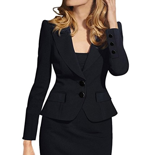 Fully Lined Tailored Blazer (E.JAN1ST Women's Slim Fit Blazer Lapel Collar Two Button Slim Short Cotton Blazer, Black, TagsizeXXXXL=USsize18)