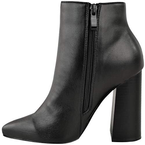 Fashion Fashion Fashion Sexy Moda Moda Moda Thirsty Alto Ladies New alla Stivali Caviglia Tacco Numeri Ecopelle Scarpe Womens Black Nera Zip Blocco gRFngr7