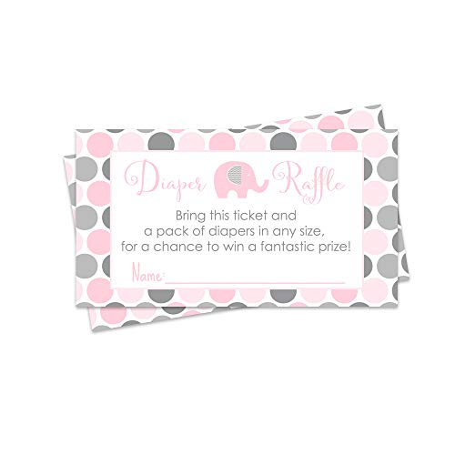 Pink Elephant Diaper Raffle Cards - Set of 25 - Baby Shower Game]()