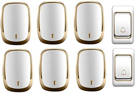 IP44防水ワイヤレスドアベル、ホーム超長距離ドアチャイムキット、2プッシュボタン+6 レシーバー、36着メロ、4音量レベル,金